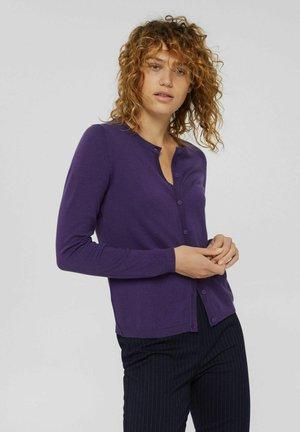 RUNDHALS AUS MIX  - Cardigan - dark purple