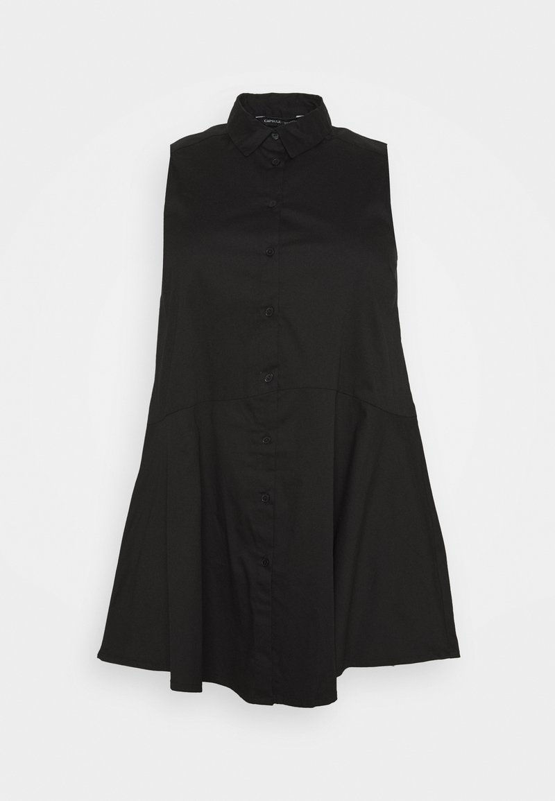 CAPSULE by Simply Be - STRETCH SLEEVELESS FIT AND FLARE SHIRT - Débardeur - black