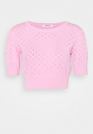 POINTELLE CROP WITH PUFF SLEEVES - Trui - candy pink