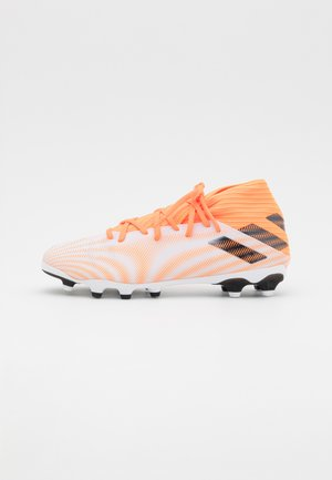 NEMEZIZ .3 MG - Moulded stud football boots - footwear white/core black/screaming orange