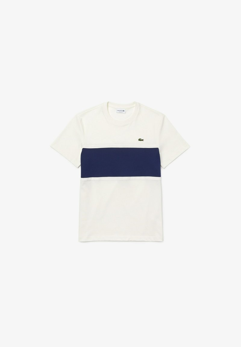 Lacoste - Print T-shirt - weiß / blau