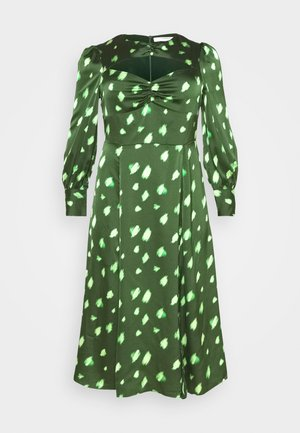 DRESS WITH LONG SLEEVES ROUND NECKLINE CUT OUT FRONT - Maxi dress - green