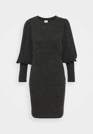JDYEMMA PUFF SLEEVE DRESS - Pletené šaty - dark grey melange