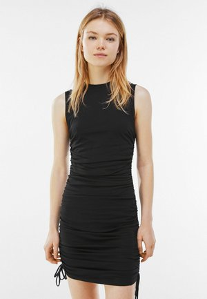 MIT SEITLICHER RAFFUNG  - Day dress - black