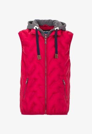 MIT KAPUZE - Waistcoat - red