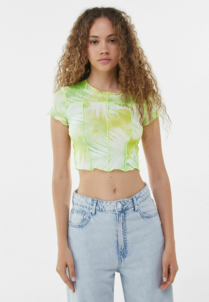 Bershka - SHORT SLEEVE - Print T-shirt - neon green