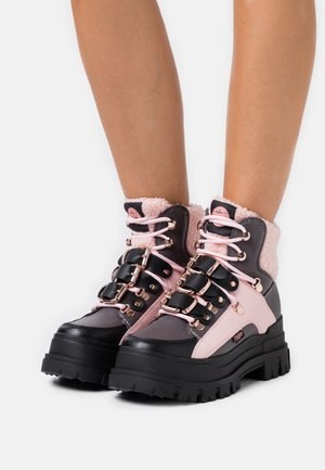 MH X BUFFALO  - Platform ankle boots - black/dark grey/rose