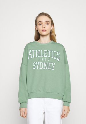 Printed Crew Neck Sweatshirt - Sweatshirts - green