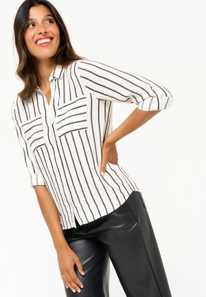 WITH GOLDEN AND STRIPES - Button-down blouse - black