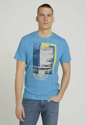 FOTOPRINT - Printtipaita - aqua blue grindle melange