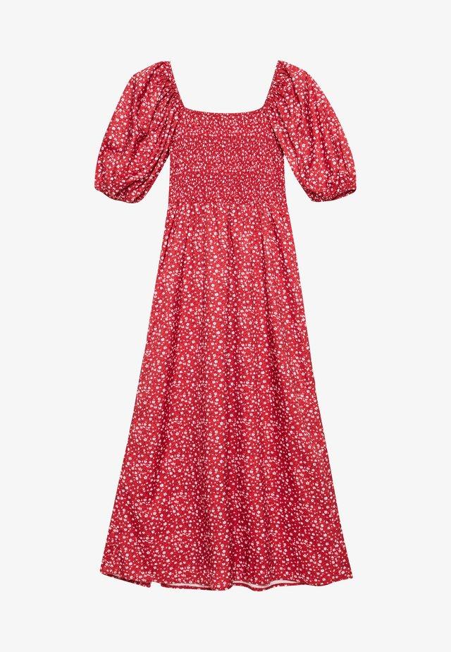 MILKMAID SHIRRED BUST MIDI FLORAL - Sukienka letnia - red