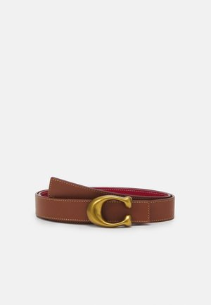 SCULPTED REVERSIBLE BELT - Pásek - saddle/red