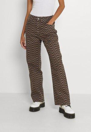 WAVE - Kalhoty - brown/black