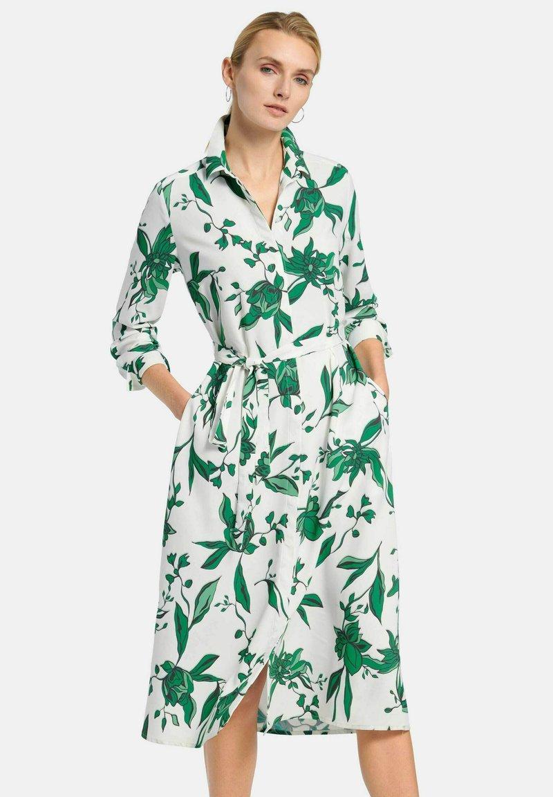 PETER HAHN - Shirt dress - weiß/grün/multicolor