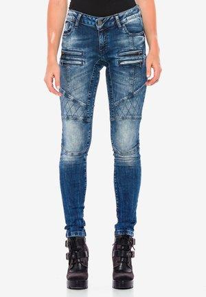 MIT BIKER-NÄHTEN AN DEN KNIEN - Slim fit jeans - blau