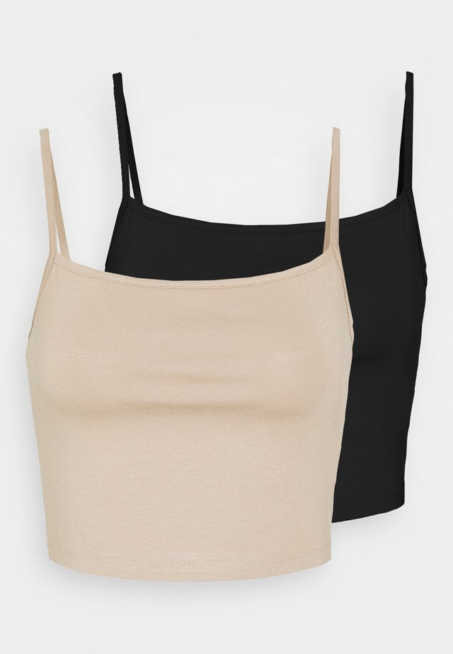 CROPPED STRONG SINGLET 2 PACK - Linne - black/beige