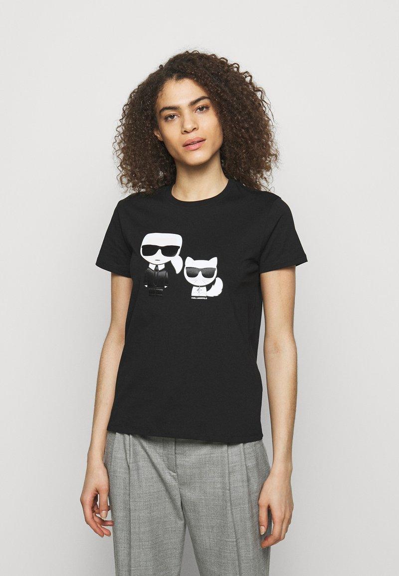 KARL LAGERFELD - IKONIK CHOUPETTE TEE - Print T-shirt - black