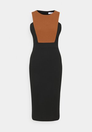 NOVA FRONT PANEL MIDI DRESS - Vestito elegante - black/brown