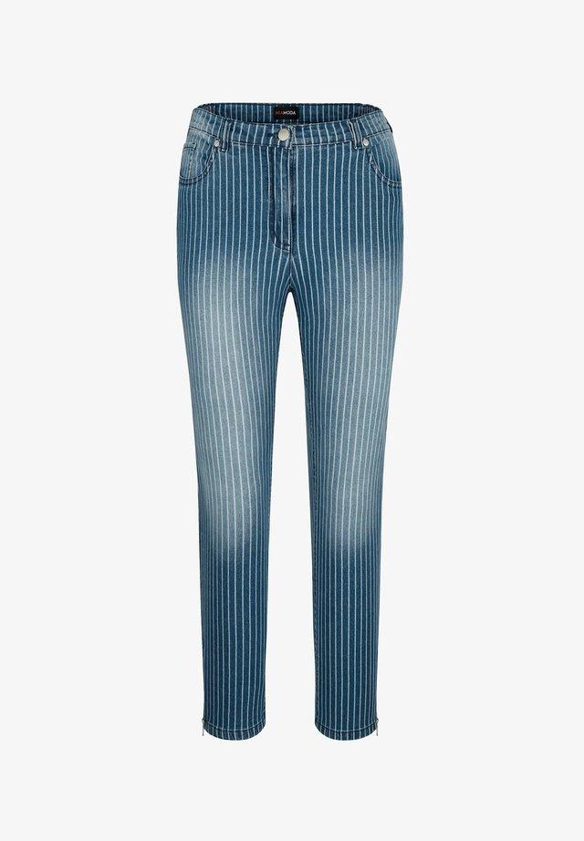 Slim fit jeans - blau/weiß