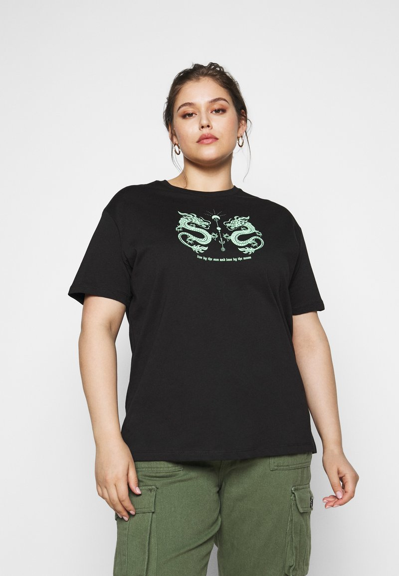 Even&Odd Curvy - Print T-shirt - black