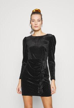 RUFFLE SPOT MINI VELVET DRESS - Shift dress - black