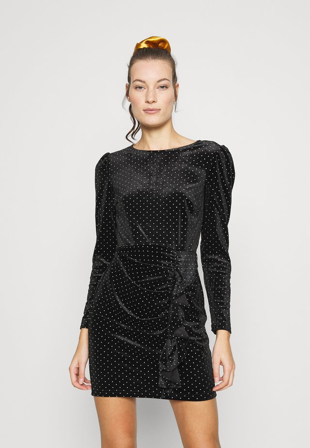 RUFFLE SPOT MINI VELVET DRESS - Sukienka etui - black
