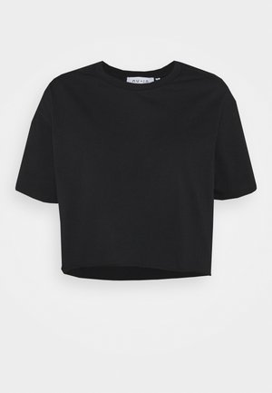 RAW HEM CROPPED - Print T-shirt - black