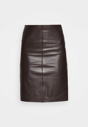 HANNA PENCIL - Mini skirt - dark brown