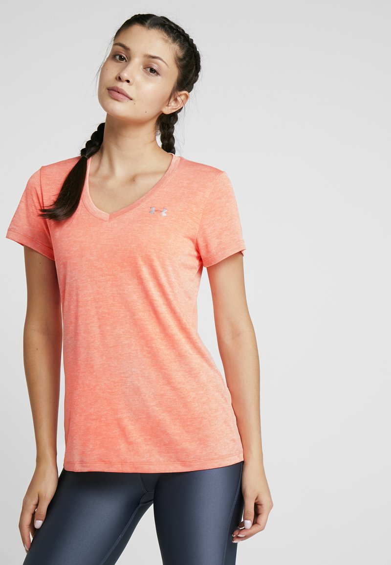 Under Armour - TECH TWIST - Basic T-shirt - peach plasma/metallic silver