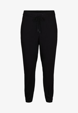 WITH TIE CORD - Trousers - black
