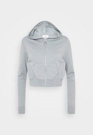 CROPPED ZIP UP HOODIE JACKET - Felpa aperta - light blue