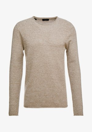 SLHROCKY CREW NECK - Stickad tröja - sepia/light grey melange