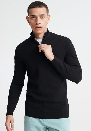 SUPERDRY ORANGE LABEL COTTON HENLEY JUMPER - Jumper - black
