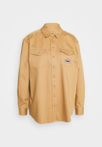 BADGE DETAIL - Button-down blouse - country khaki