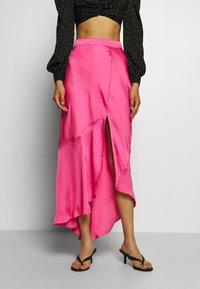 Who What Wear - ASYMMETRIC SLIP SKIRT - Maxi skirt - doll pink - 0