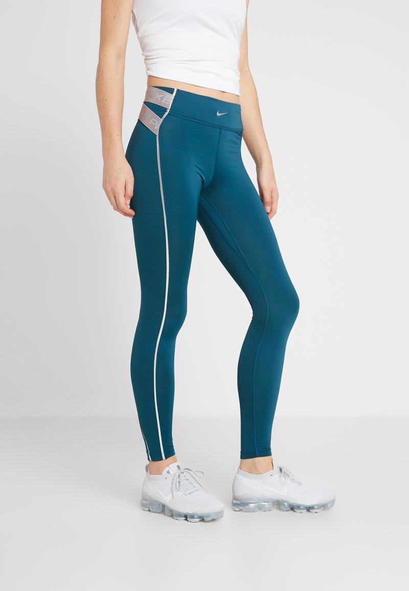 Nike Performance - HYPERWARM - Leggings - midnight turq/metallic silver
