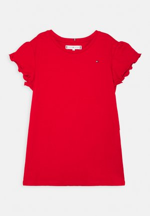 ESSENTIAL RUFFLE SLEEVE  - Basic T-shirt - deep crimson