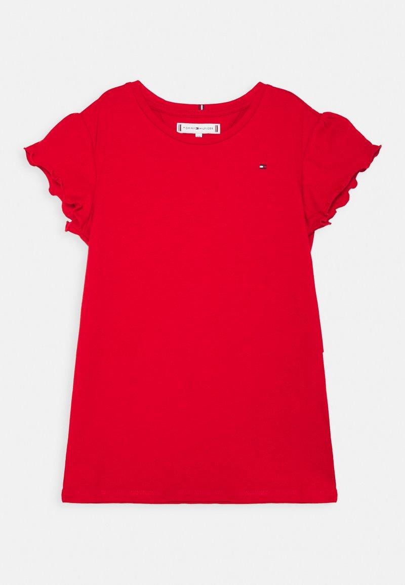 Tommy Hilfiger - ESSENTIAL RUFFLE SLEEVE - Print T-shirt - deep crimson