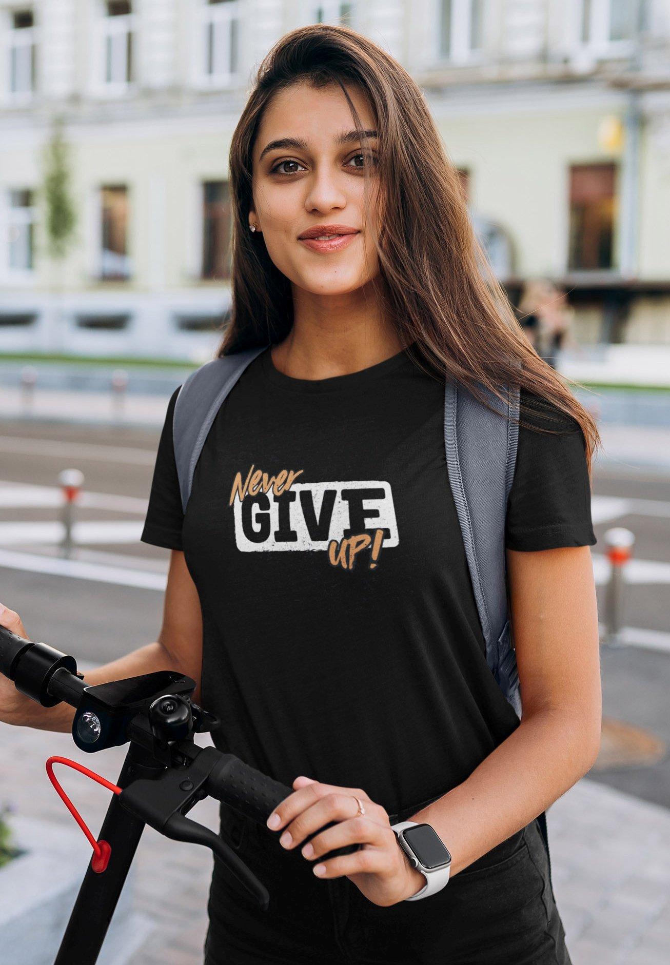 Damen NEVER GIVE UP - T-Shirt print