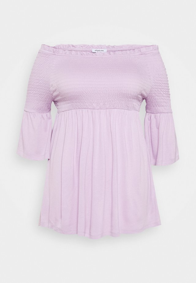 SHIRRED BARDOT TUNIC - Bluser - lilac