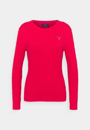 CABLE CNECK - Svetr - watermelon red