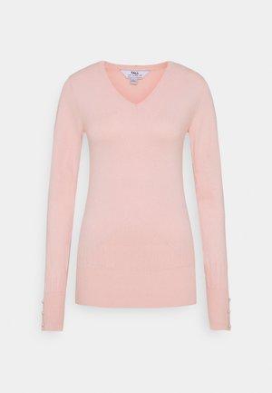 PEARL BUTTON CUFF V NECK JUMPER - Sweter - blush