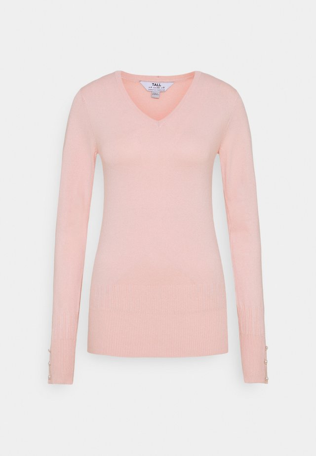 PEARL BUTTON CUFF V NECK JUMPER - Jumper - blush