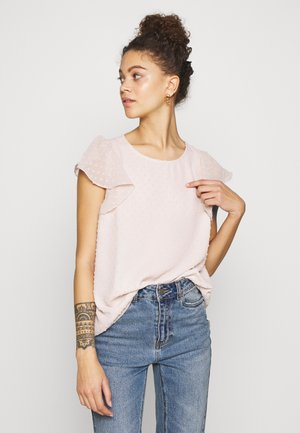 BLUSH DOBBY SHORT SLEEVE RUFFLE TOP - Blůza - pink