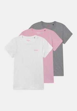 ARIANDE 3 PACK - T-Shirt basic - white/pink/grey marl