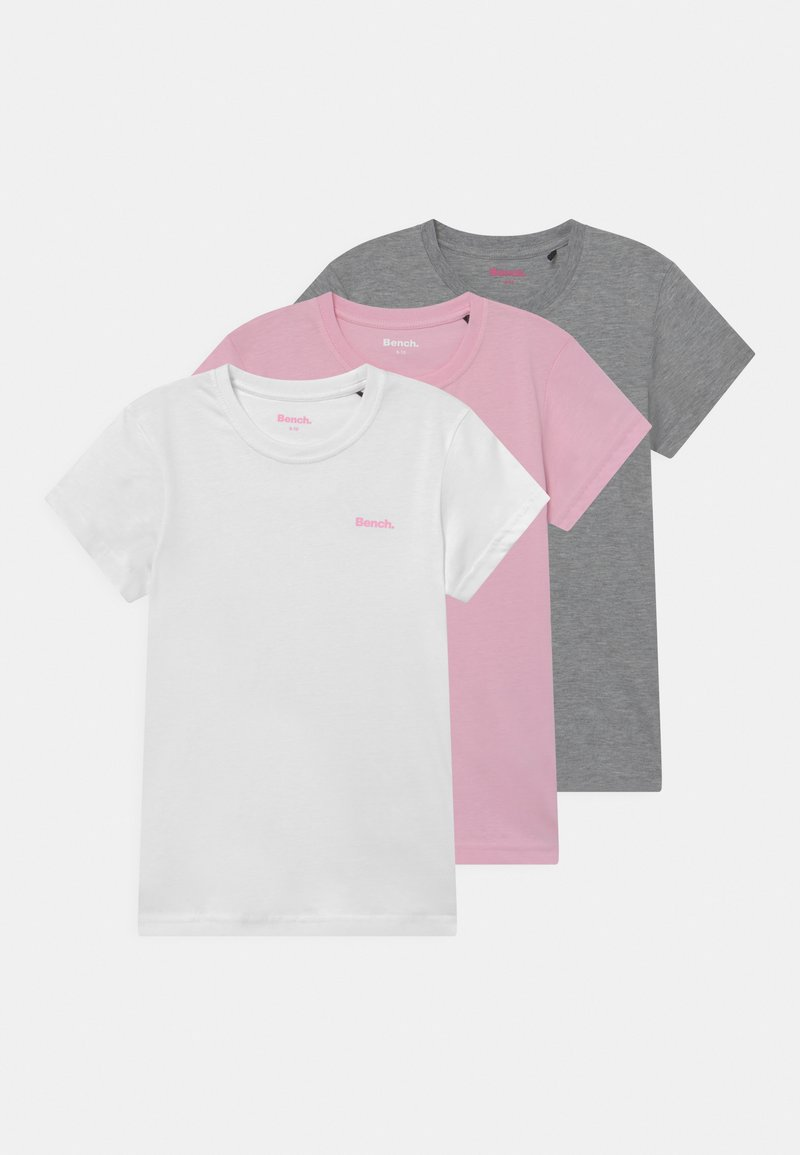 Bench - ARIANDE 3 PACK - Basic T-shirt - white/pink/grey marl