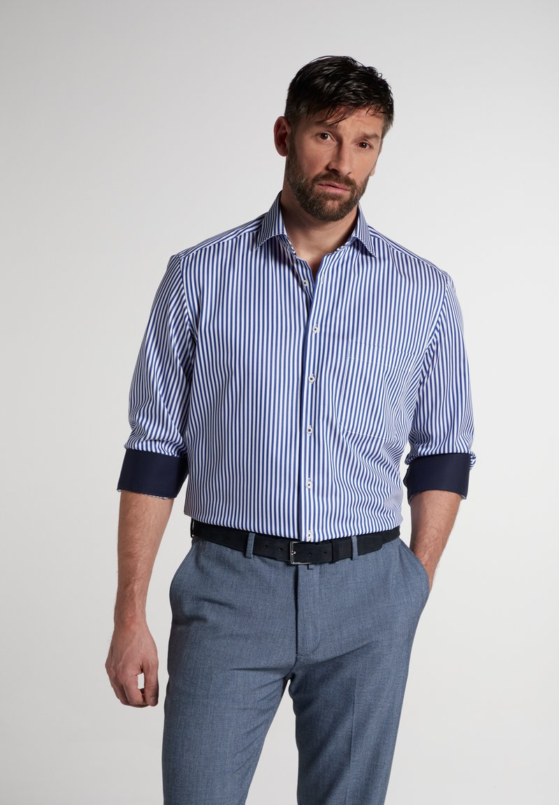 Eterna - COMFORT FIT - Shirt - blau/weiß