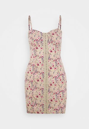 FLORAL HOOK AND EYE MINI DRESS - Denní šaty - sand