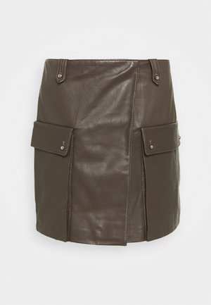SKIRT PLONGE - Mini skirt - shitake
