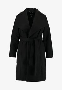 CAPSULE by Simply Be - LONGLINE BELTED WRAP COAT - Abrigo - black - 4